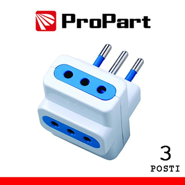 adattatore 3 prese spina 10A 220-240 volt CE bianco polybag lif pes1025awp propart lif pes1025awp