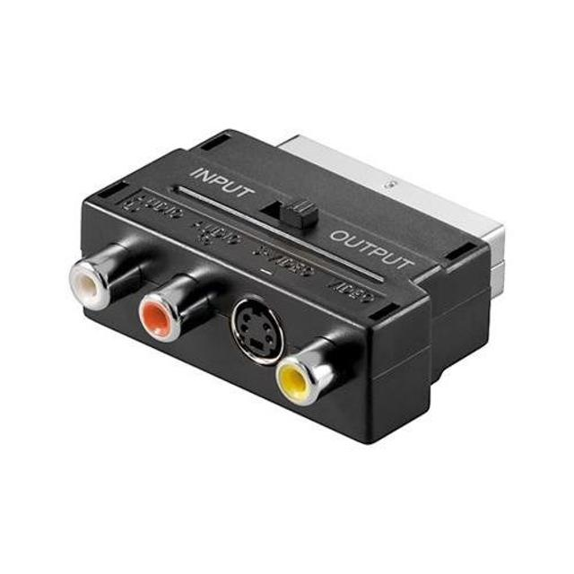 adattatore audio video spina scart a rca e s-vhs in-out  wnt 50123 goobay wnt 50123