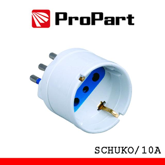 adattatore riduzione schuko spina 10A 220-240 volt CE bianco polybag lif pes1006wp propart lif pes1006wp