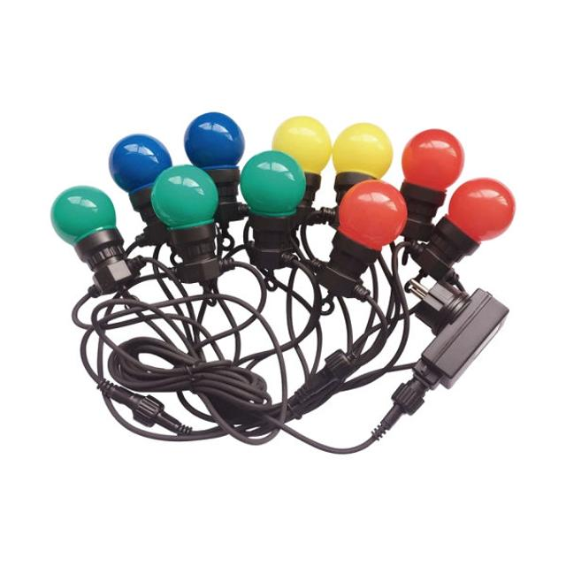 catena party 10 lampade led multicolore 5 watt 220-240 volt 240° 5 mt A+ CE IP44 rgb tec 637459 v-tac tec 637459