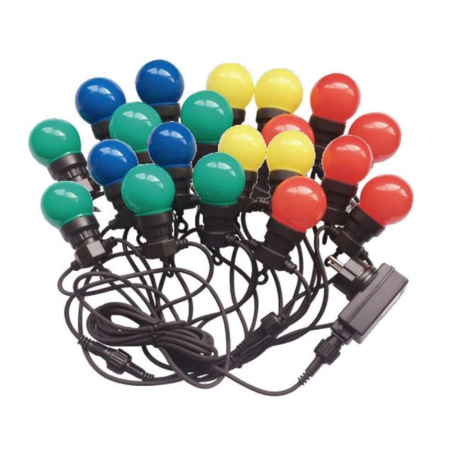 catena party 20 lampade led multicolore 10 watt 10 mt 220-240 volt 240° A+ CE IP44 rgb tec 637480 v-tac tec 637480