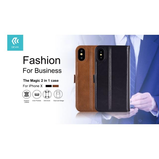cover in pelle con porta documenti magic per iphone x nero lif demipx399b devia 36995 1/4