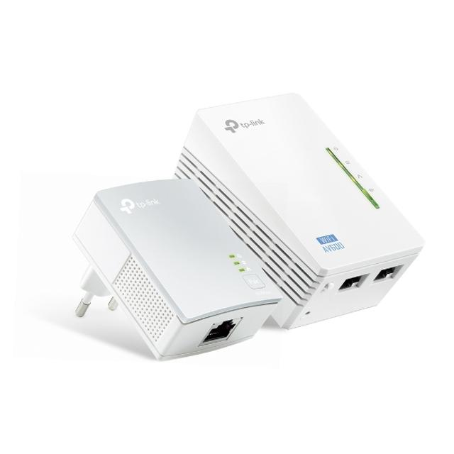 kit 2 powerline wifi 2.4 ghz av600 2+1 porte lan tl-wpa4220  lif tlwpa4220kit tp-link 35269 1/4