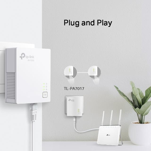 kit powerline av1000 1 porta gbit plug & play tl-pa7017 kit  lif tlpa7017kit tp-link 35268 2/6