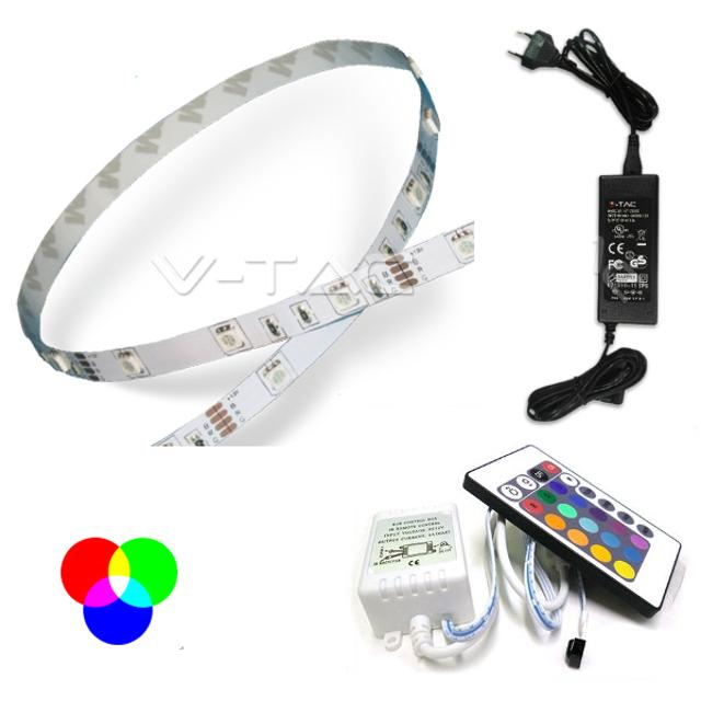 kit striscia 150 led non impermeabile 120° 220-240 volt 5 mt CE IP20 rgb tec 621641 v-tac tec 621641