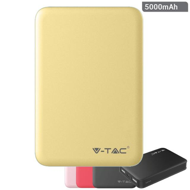 power bank ricarica cellulari 5000mah 2 usb giallo tec 642972 v-tac tec 642972