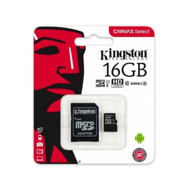 scheda micro sd 16 gb classe 10 hc kingston memory card 80mbs  var 021133 kingston 4263 1/1
