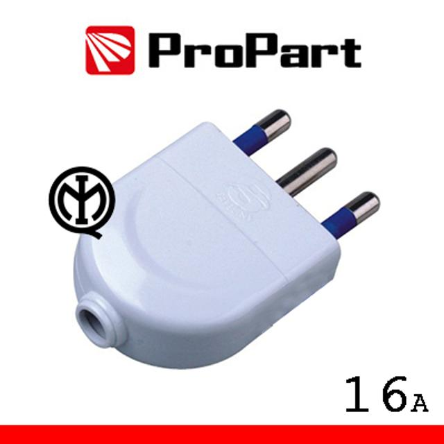 spina elettrica 2p+t 16A 220-240 volt CE bianco pvc lif pes1003w propart lif pes1003w