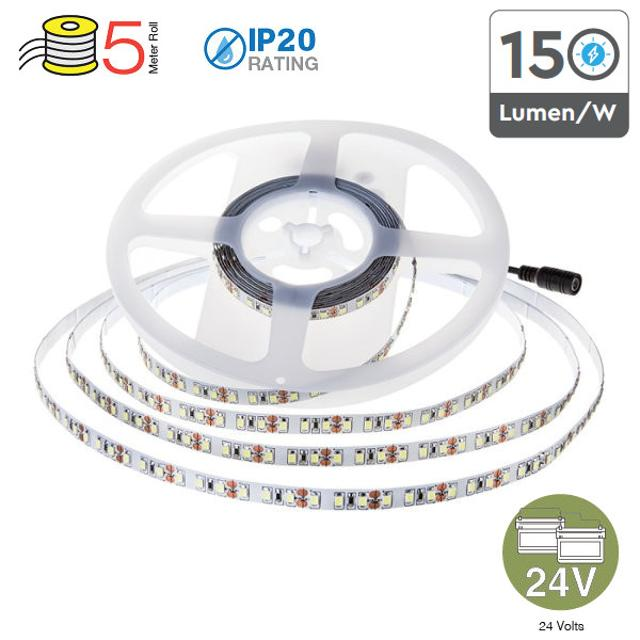striscia 1190 led non impemeabile ultraluminosa 120° 24 volt 5 mt A++ CE IP20 bianco naturale si tec 653190 v-tac 31445 1/1