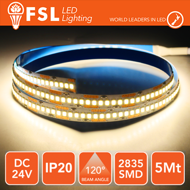 striscia 240 led 24 volt 5 mt A+ IP20 bianco caldo si lif fls2824v20ip30k fsl 34526 1/2
