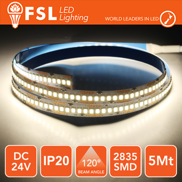 striscia 240 led 24 volt 5 mt A+ IP20 bianco naturale si lif fls2824v20ip40k fsl lif fls2824v20ip40k