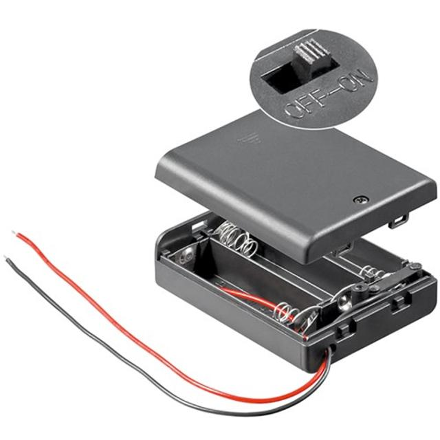supporto per 3 batterie stilo (aa) con interruttore custodia  wnt 12445 goobay wnt 12445